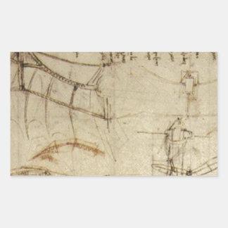 Chisme del vuelo de da Vinci Pegatina Rectangular