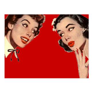 Chismes retros de las mujeres del vintage postal