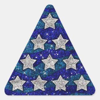 Chispa azul de las ondas del brillo de las pegatina triangular