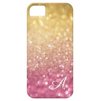 Chispa brillante del rosa del oro de la mirada del iPhone 5 carcasas