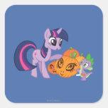 Chispa crepuscular con la calabaza de Halloween Pegatina Cuadrada