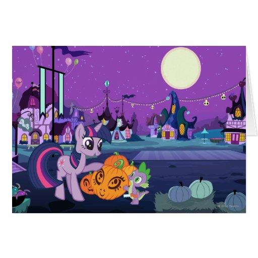Chispa crepuscular con la calabaza de Halloween Felicitación