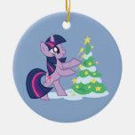 Chispa crepuscular que adorna el árbol de navidad adorno navideño redondo de cerámica