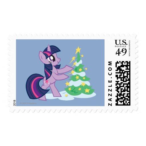 Chispa crepuscular que adorna el árbol de navidad timbres postales
