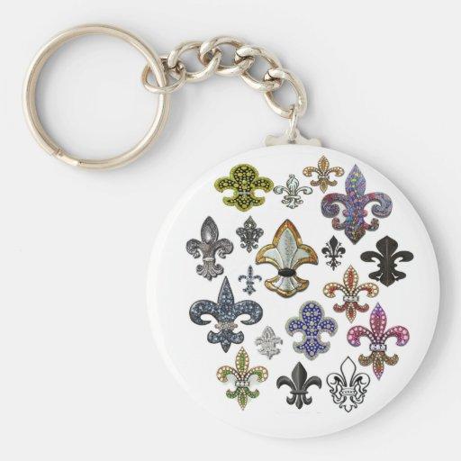 Chispa de la joya de Flor New Orleans de la flor d Llavero Redondo Tipo Pin