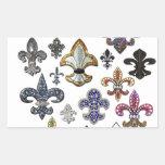 Chispa de la joya de Flor New Orleans de la flor Pegatina Rectangular