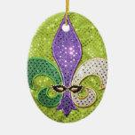 Chispa de la joya de New Orleans de la flor de lis Adorno Navideño Ovalado De Cerámica