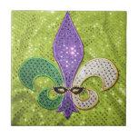 Chispa de la joya de New Orleans de la flor de lis Azulejo Cuadrado Pequeño