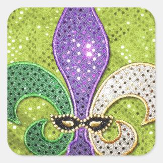 Chispa de la joya de New Orleans de la flor de lis Pegatina Cuadrada