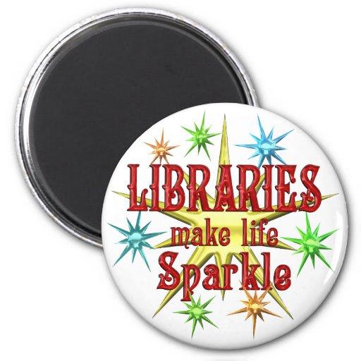 Chispa de las bibliotecas imán redondo 5 cm