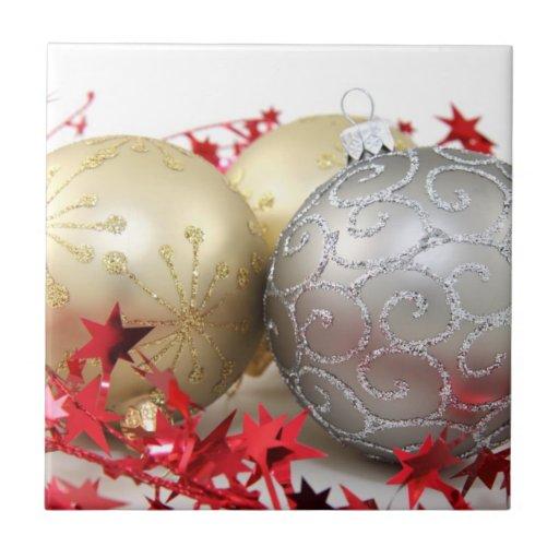 Chispa de los ornamentos del navidad azulejo cuadrado pequeño