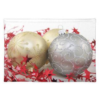 Chispa de los ornamentos del navidad mantel individual
