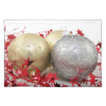 Chispa de los ornamentos del navidad manteles