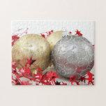 Chispa de los ornamentos del navidad rompecabezas con fotos