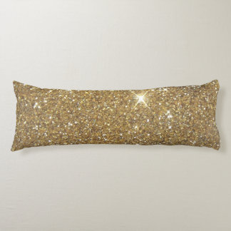 Chispa de lujo del brillo del oro almohada larga