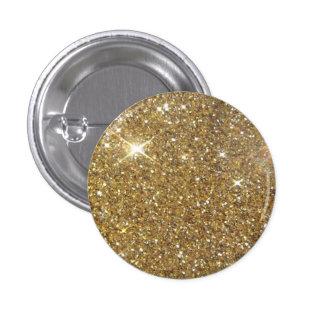 Chispa de lujo del brillo del oro pin redondo 2,5 cm