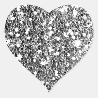 Chispa de plata sólida de la mirada del brillo pegatina en forma de corazón