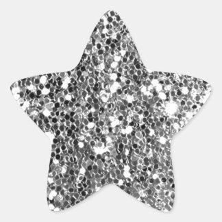 Chispa de plata sólida de la mirada del brillo pegatina en forma de estrella