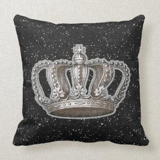 Chispa de princesa Crown Black Faux Glitter del vi Cojin