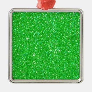 Chispa del efecto del brillo del verde esmeralda adorno navideño cuadrado de metal