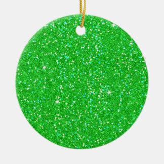 Chispa del efecto del brillo del verde esmeralda adorno navideño redondo de cerámica