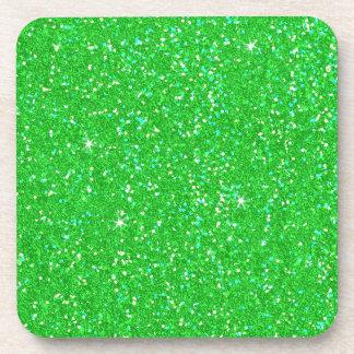 Chispa del efecto del brillo del verde esmeralda posavasos de bebidas