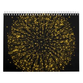 Chispa del fuego artificial del resplandor solar calendarios