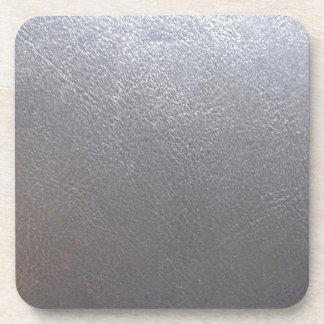 Chispa del gris DE PLATA: Final de cuero de la mir Posavasos