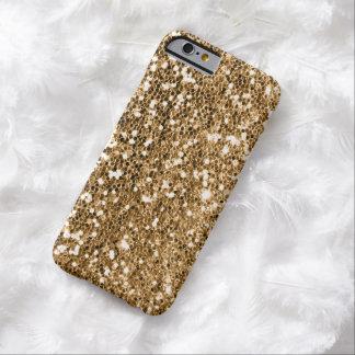 Chispa del oro sólido de la mirada del brillo funda barely there iPhone 6