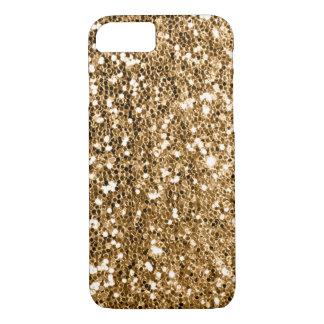 Chispa del oro sólido de la mirada del brillo funda iPhone 7