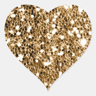 Chispa del oro sólido de la mirada del brillo pegatina en forma de corazón