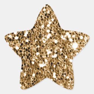 Chispa del oro sólido de la mirada del brillo pegatina en forma de estrella