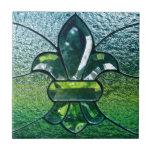 Chispa del verde de Flor New Orleans de la flor de Azulejo Cuadrado Pequeño