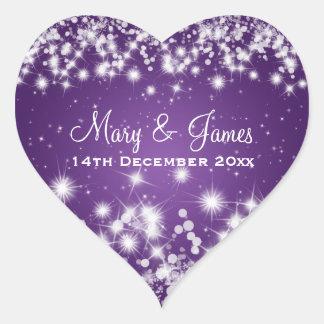 Chispa elegante Purple Heart del invierno de la Pegatina En Forma De Corazón