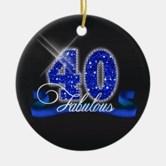 Chispa fabulosa cuarenta adorno navideño redondo de cerámica
