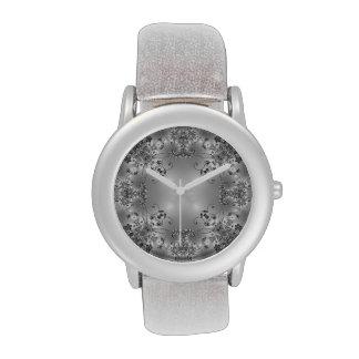 Chispa floral - negro + Blanco + Gris - reloj