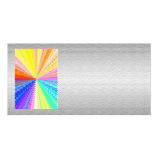 Chispa gráfica de plata de seda del arco iris de tarjetas fotográficas personalizadas