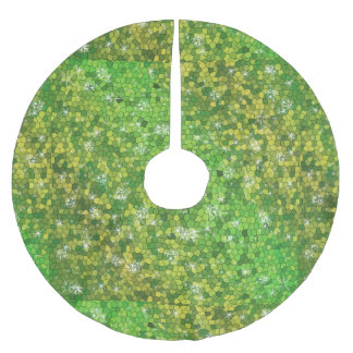 Chispa mágica del navidad del brillo de la verde falda para arbol de navidad de poliéster