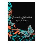 Chispa negra anaranjada azul de la mariposa invitaciones personalizada