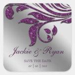 Chispa púrpura 2 de los pegatinas del boda de la pegatinas cuadradas