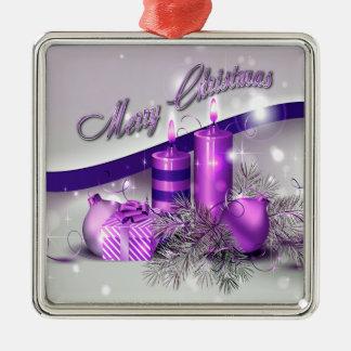 Chispa púrpura de las velas del navidad adorno navideño cuadrado de metal