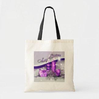 Chispa púrpura de las velas del navidad bolsa tela barata