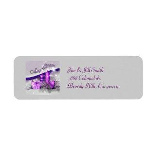 Chispa púrpura de las velas del navidad etiqueta de remite