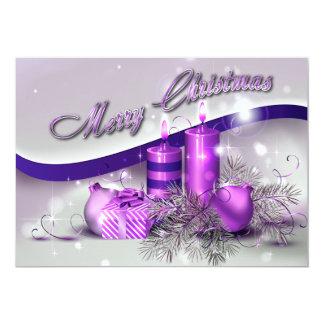 """Chispa púrpura de las velas del navidad invitación 5"""" x 7"""""""