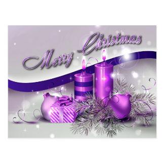 Chispa púrpura de las velas del navidad tarjetas postales