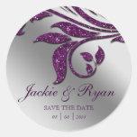 Chispa púrpura de los pegatinas del boda de la etiquetas redondas