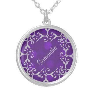 Chispa púrpura Pers de la elegancia de plata. Pendiente Personalizado