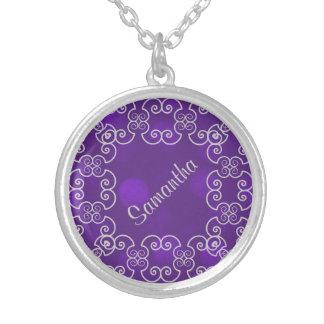 Chispa púrpura Pers de la elegancia de plata. Joyería