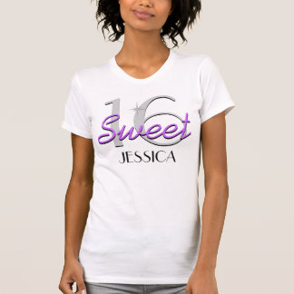 Chispa púrpura personalizada del dulce 16 camiseta