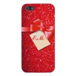 Chispa roja con la cinta y el monograma iPhone 5 carcasas